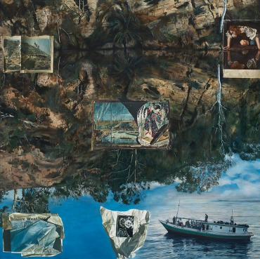 Lyndell Brown and Charles Green, Deep Rock, 2012, oil on linen, 155 x 155 cms